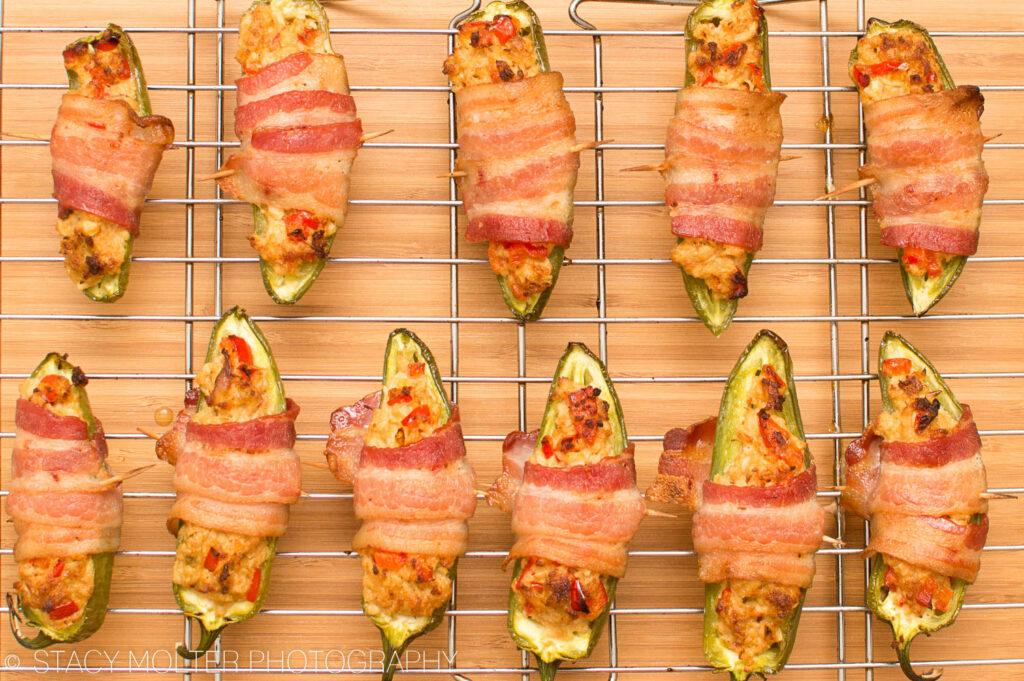 Tuna Stuffed Bacon Wrapped Jalapeno Poppers