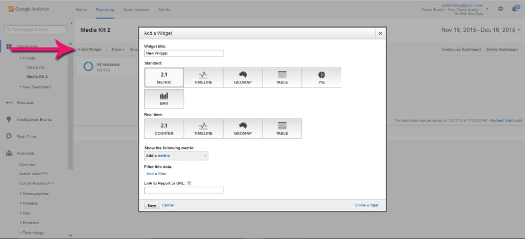 How to Create a Functioning Media Kit in Google Dashboard