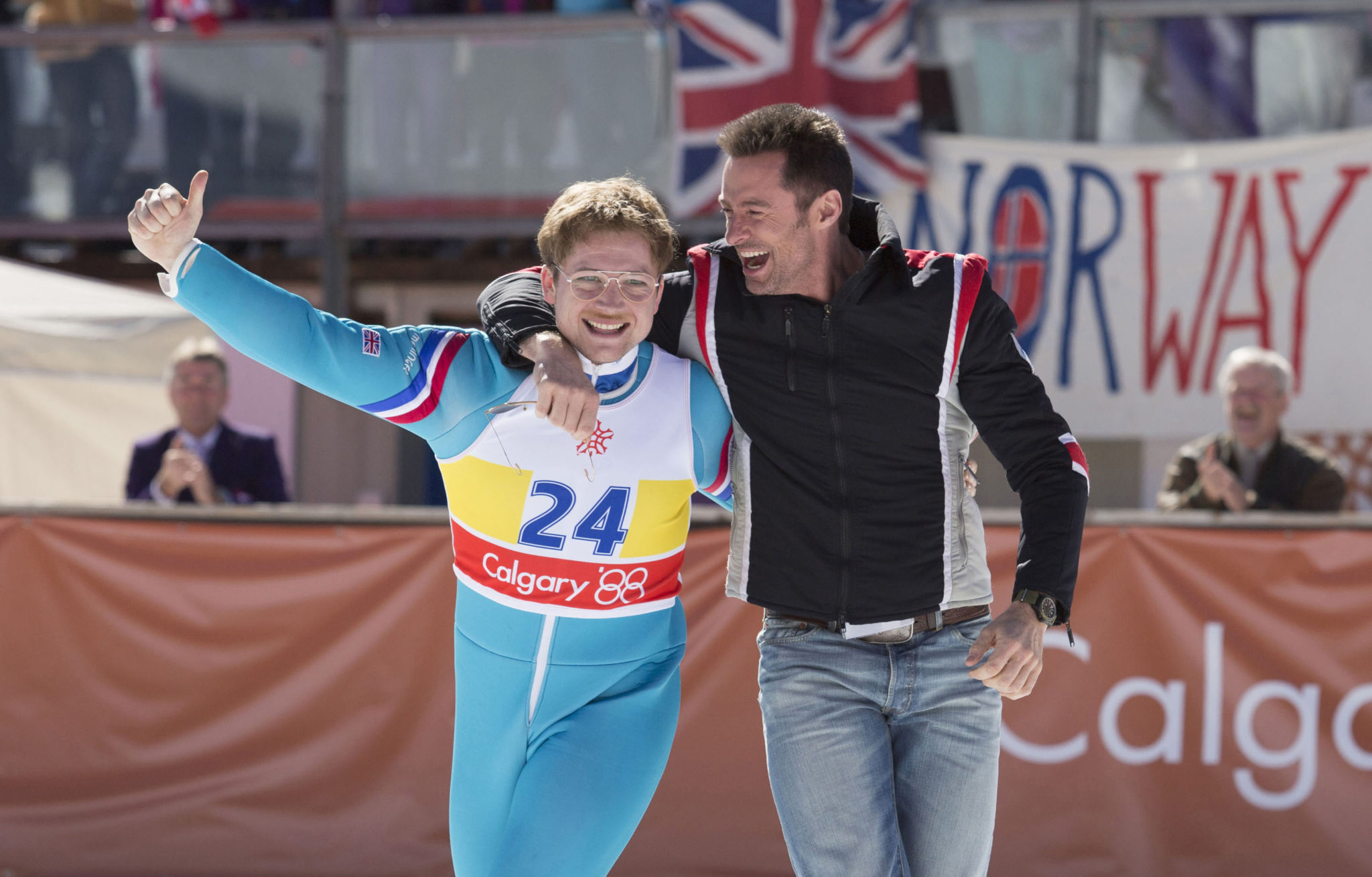 Hugh Jackman and Taron Egerton Talk About Flying Like An Eagle