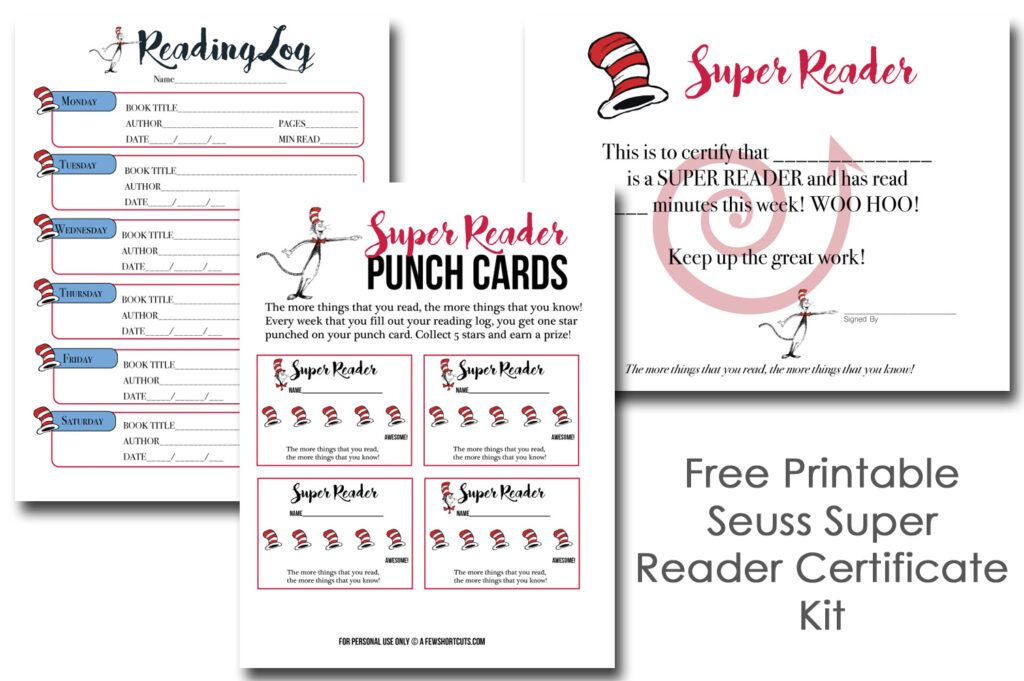 Free Printable Seuss Super Reader Certificate Kit
