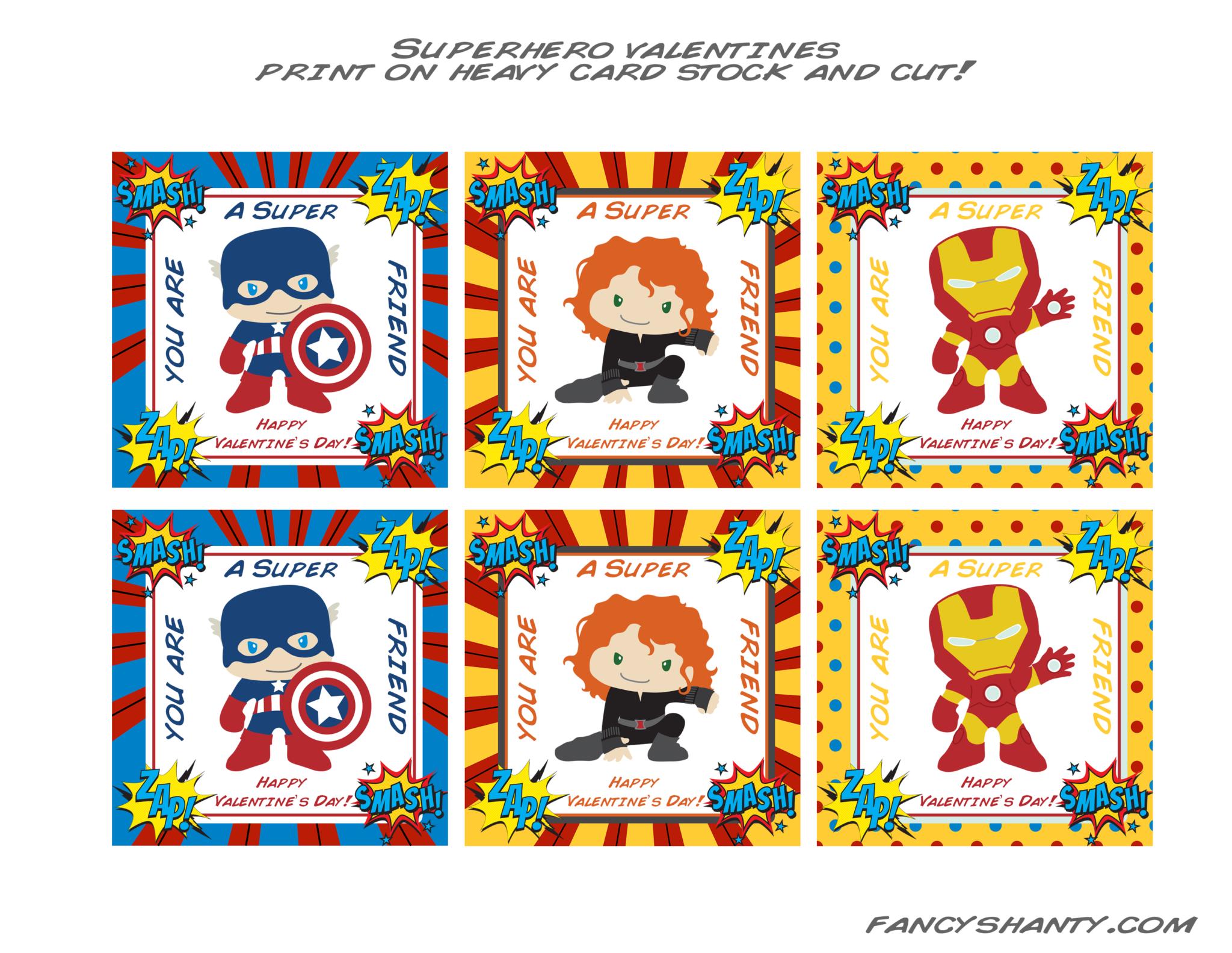 Superhero Valentine Cards