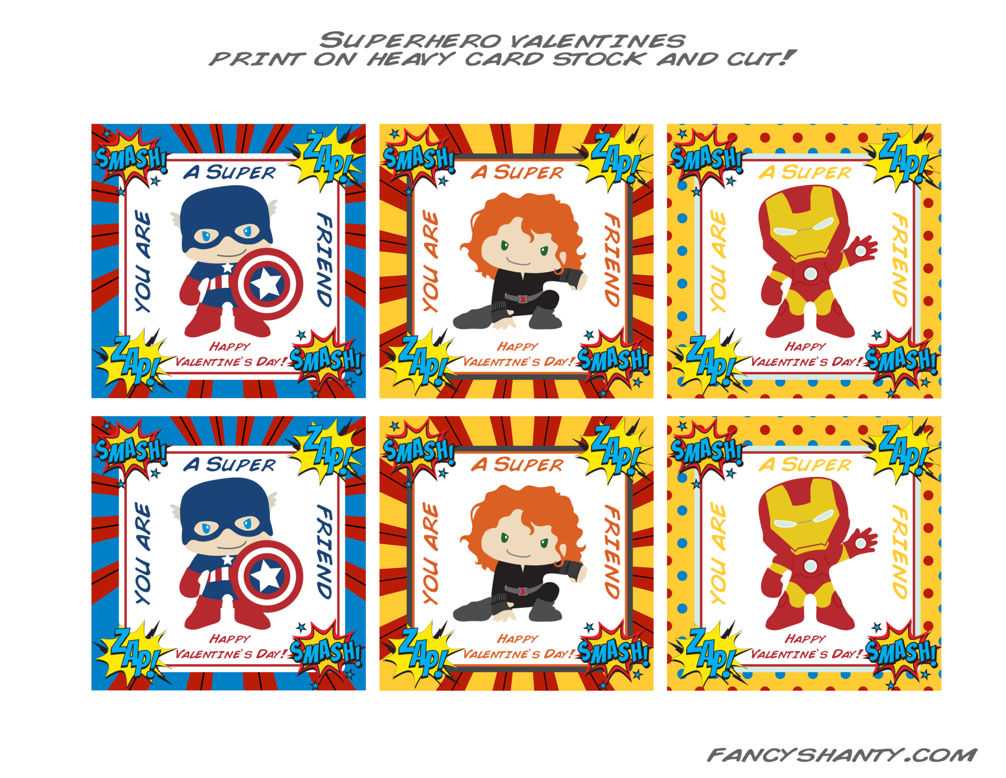 Superhero Valentine Cards