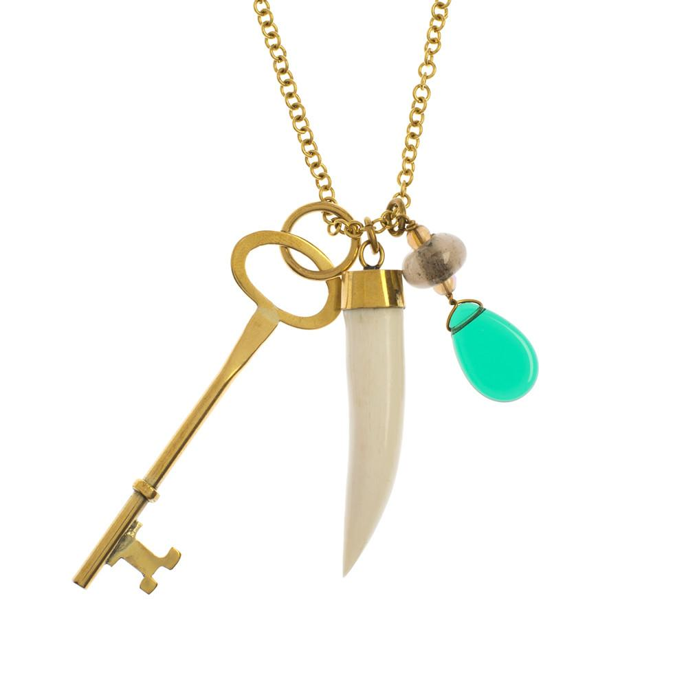 Key Charm Necklace in White