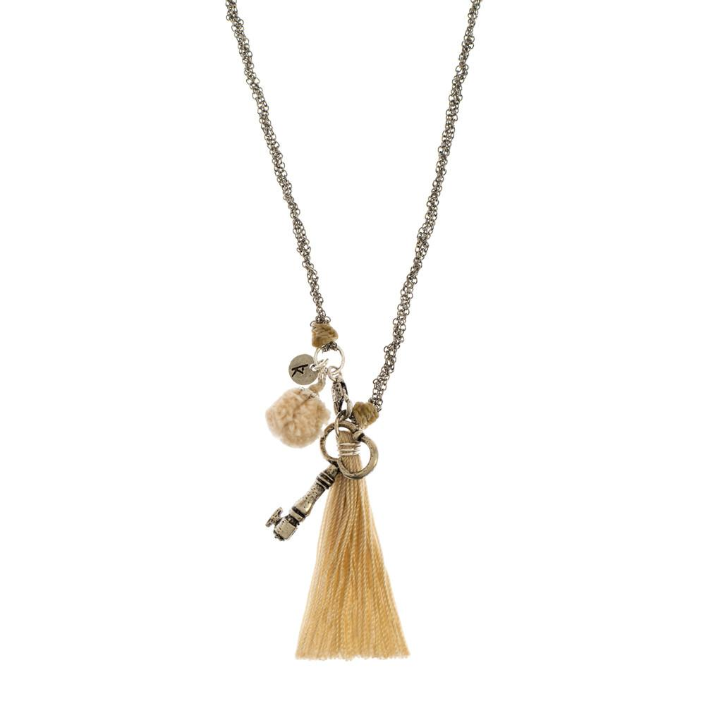 Pom Pom Charm Necklace - Cream