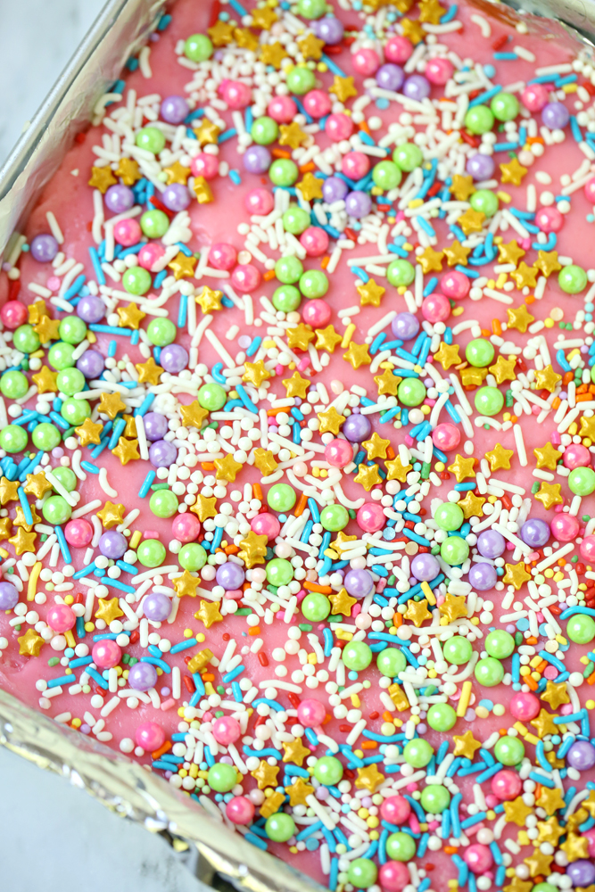 Unicorn Cake Batter Fudge Recipe