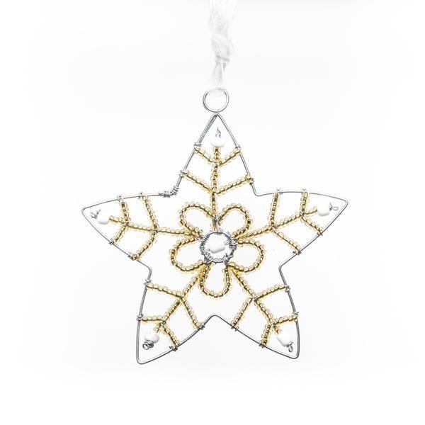 Beaded Gold Star Ornament