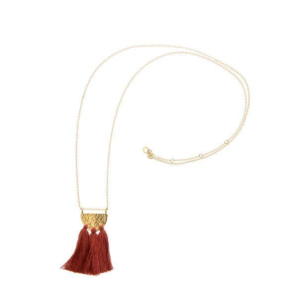 Hammed Brass Tassel Necklace