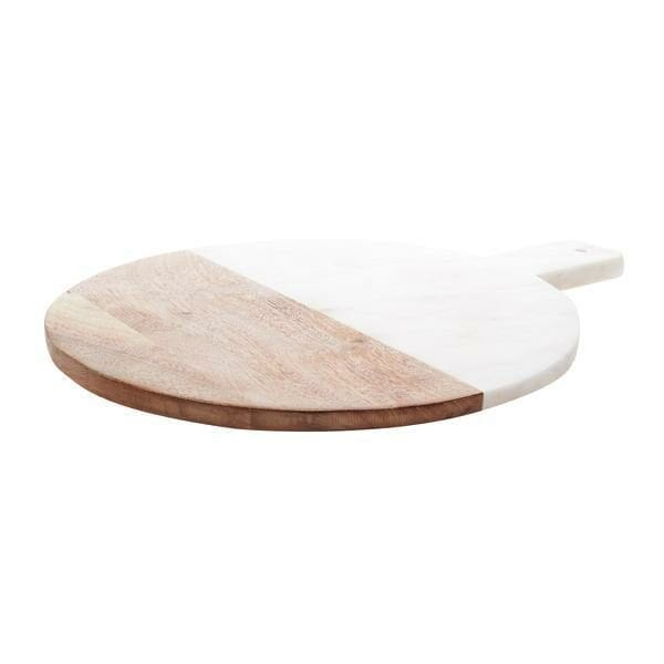 Marble and Wood Serving Tray