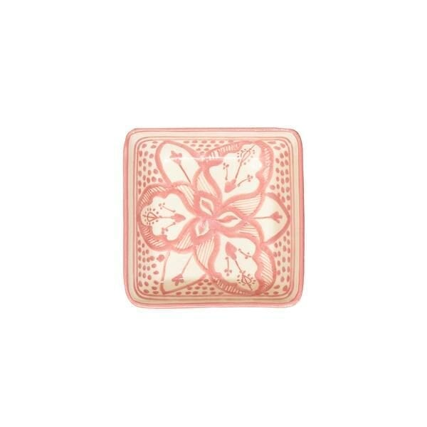 Square Floral Dishes Pink