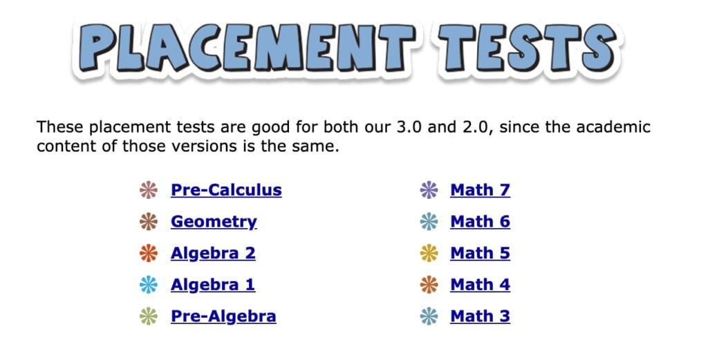 Teaching Textbooks Placement Tests