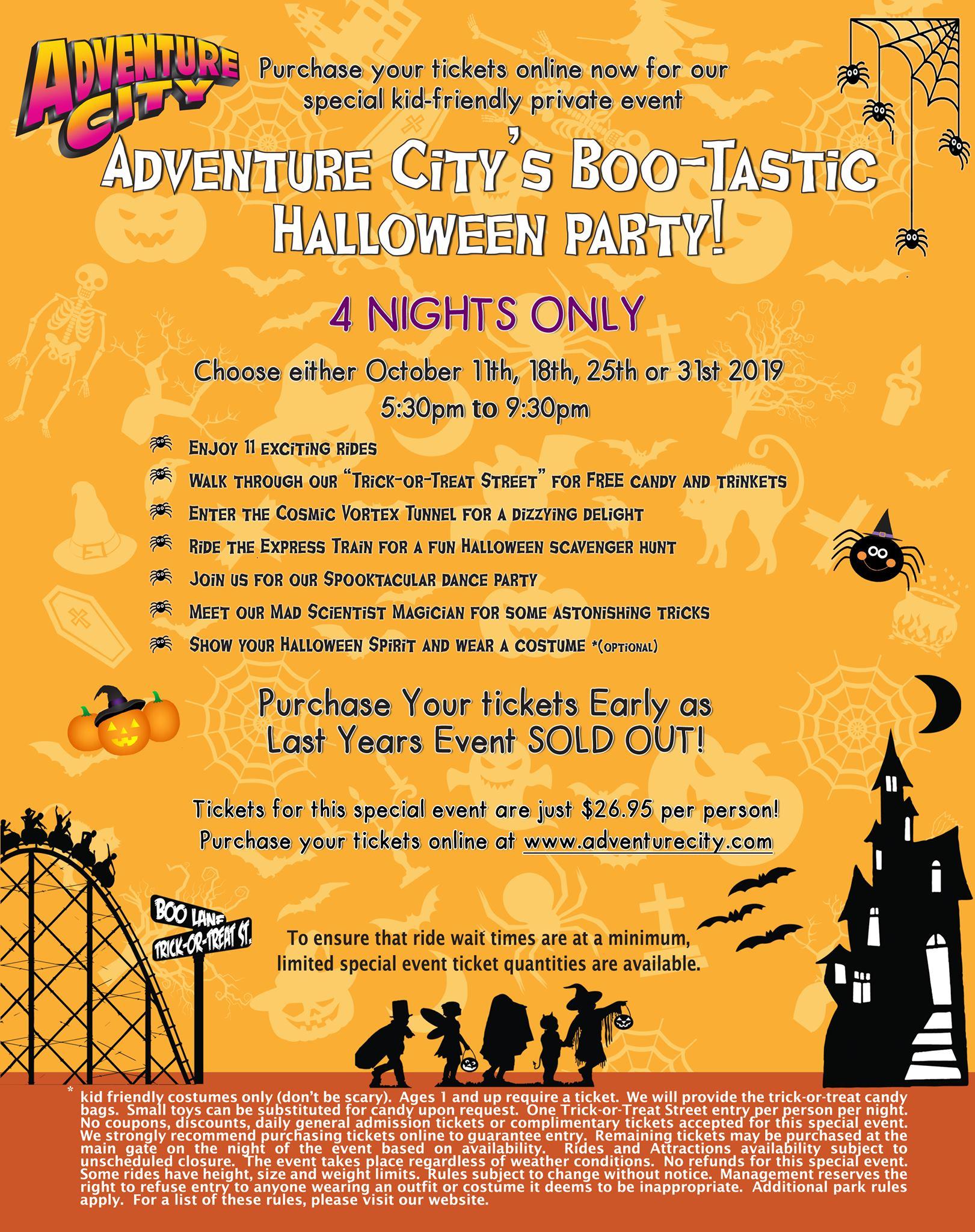 Boo-Tastic Halloween 2020, October 26 Adventure City's BooTastic Halloween Party!   18 OCT 2019