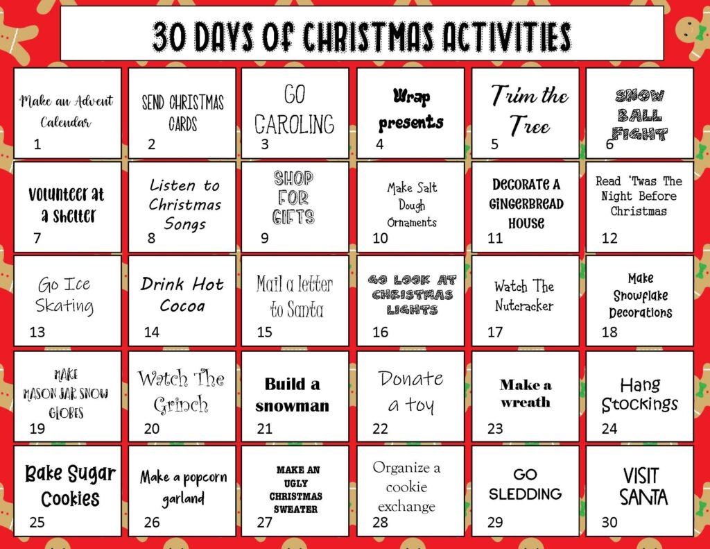 30 Days of Christmas Activities - Christmas Bucket List Ideas