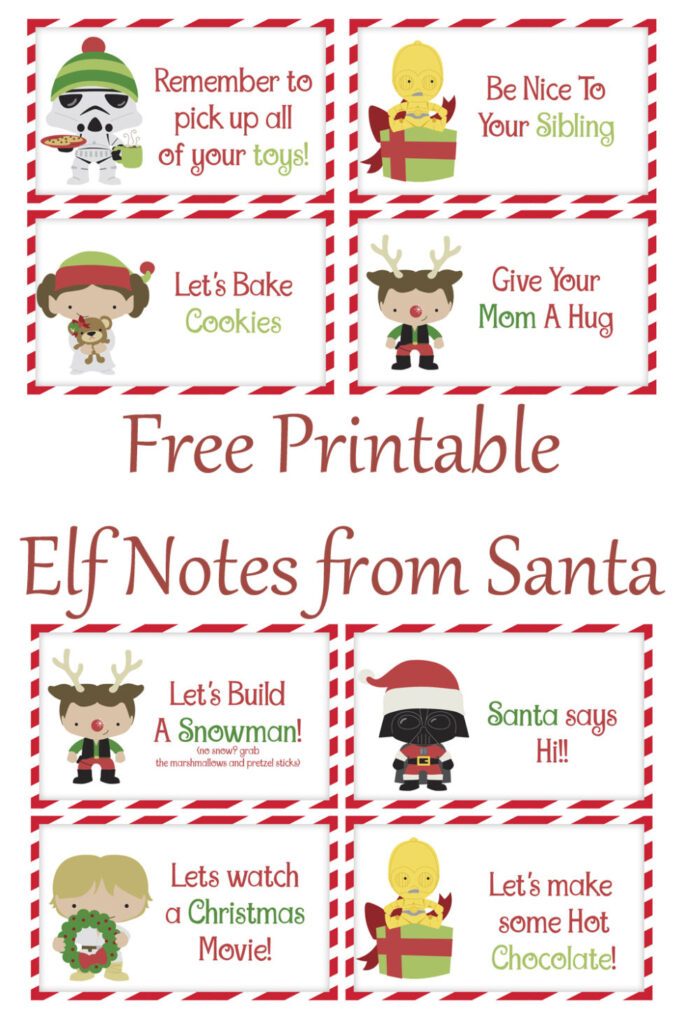 Keep the holidays positive and stress free with these free printable, Star Wars themed, Elf Notes from Santa.