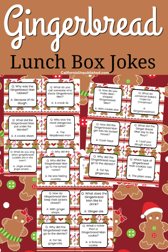 Add add a little merriment to your kids' holiday season with this cheerful set of free printable gingerbread man lunch box notes.