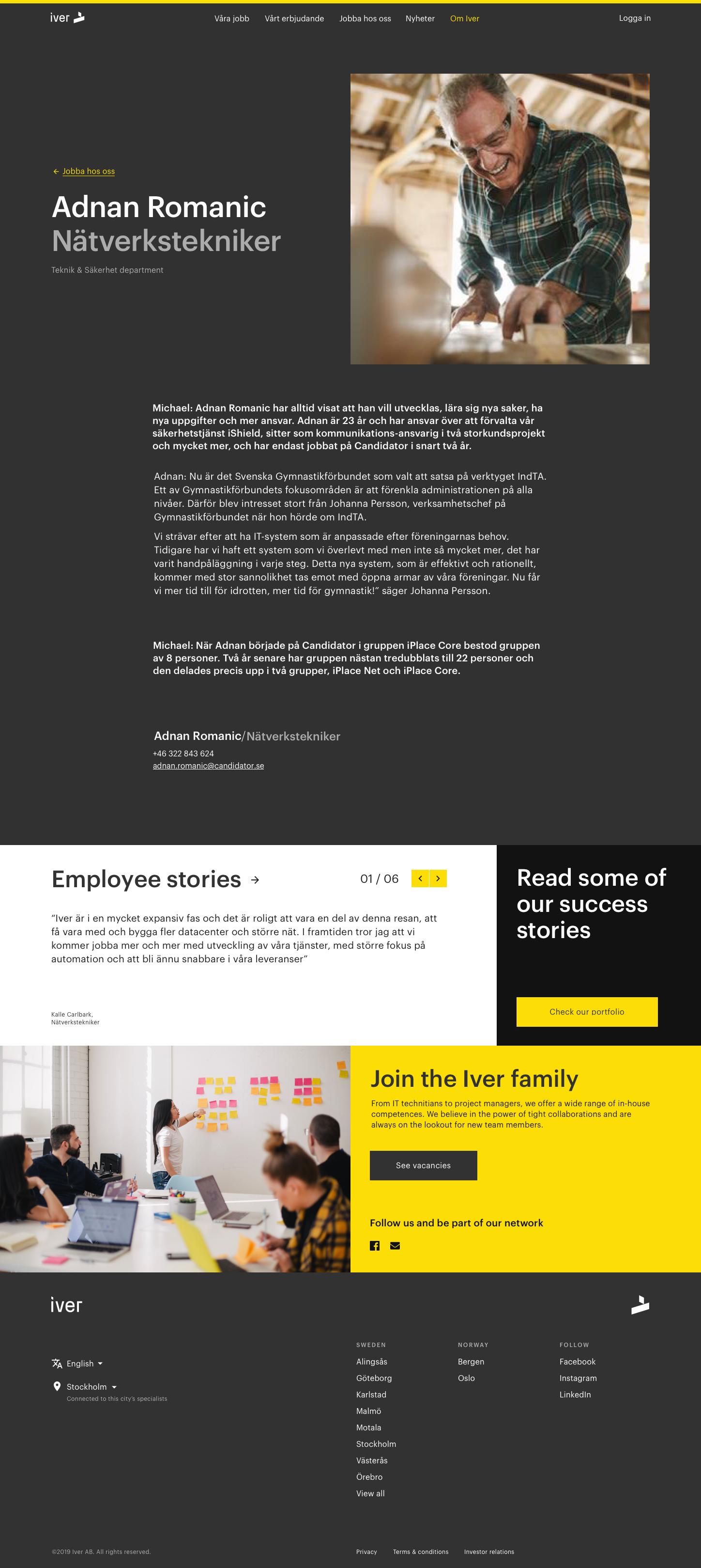 Employee page – desktop