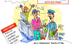 AGGro shoplifters now not prosecuted by police if they take less than £200 cartoon