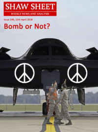 Cover Page Issue 149 Stealth bomber with peace signs