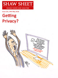 Cover Image for Issue 155 Getting Privacy GDPR cartoon by Aggro as the basis