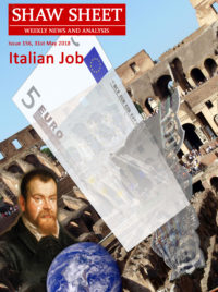 Cover Image 156 Italian Job with Euro Lira fading away and Galileo Galilei shedding a tear over his blue globe