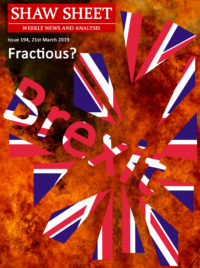 Cover Page 194 An explosion with Brexit in front of it