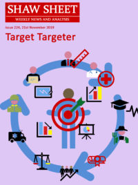 A circular target set by a person for government activities along with charts going up and down