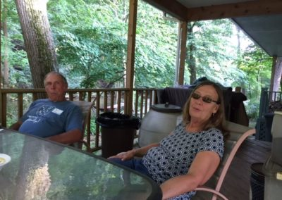 Friday, July 21 at the welcome dinner at Merrianne and Gib McGill's house - Siblings - Ron Pollock and Leah Pollock Preston