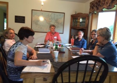 SASAF Board Meeting at the Butler farm.  From the left - Mary Beth Neely, Charlotte Weaver-Gelzer, Steve Jamison (presiding), Bill Pollock, Craoline Kurtz and Susan Knight