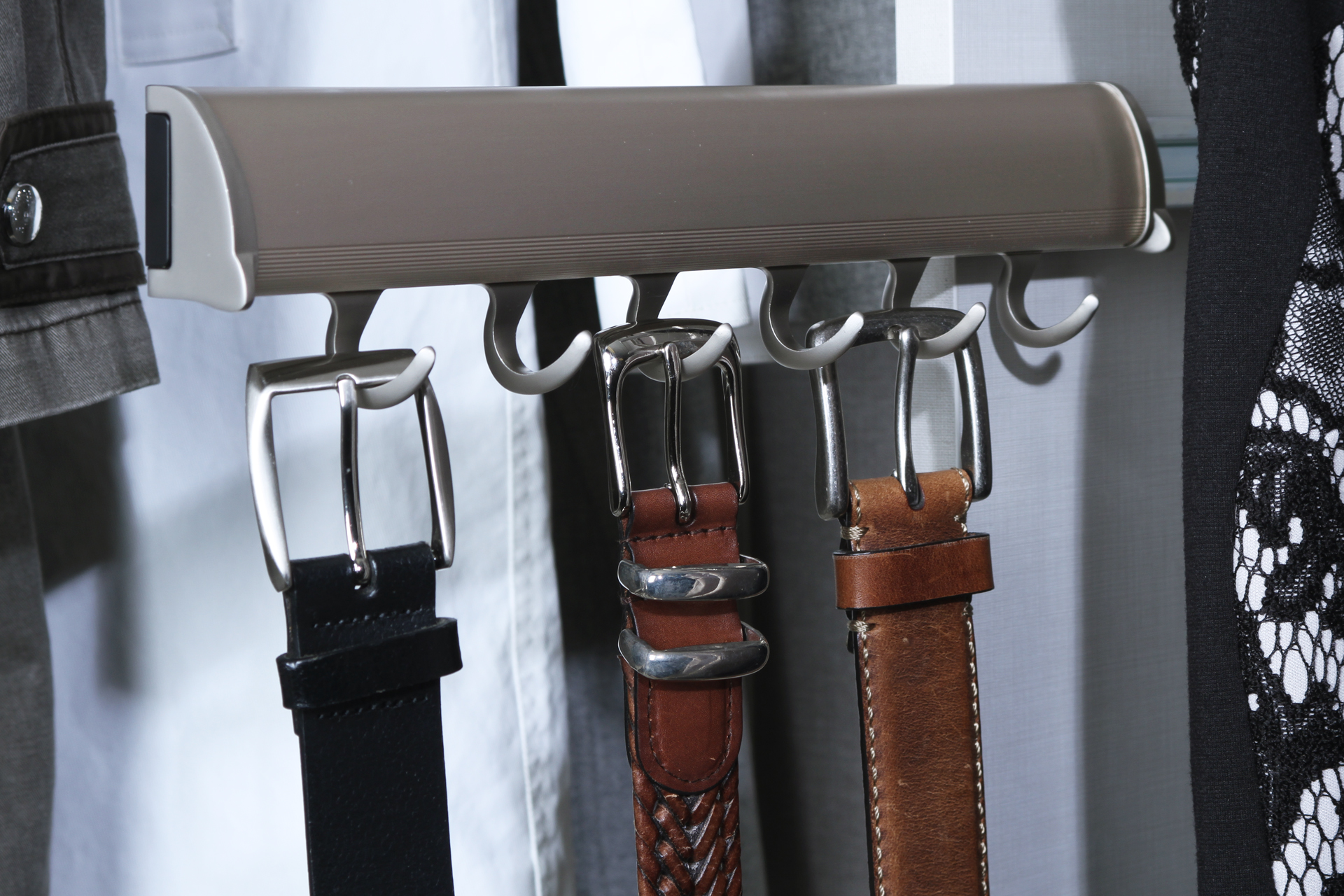 Belts hanging on Matte Nickel ELITE Belt Rack - Tag Hardware