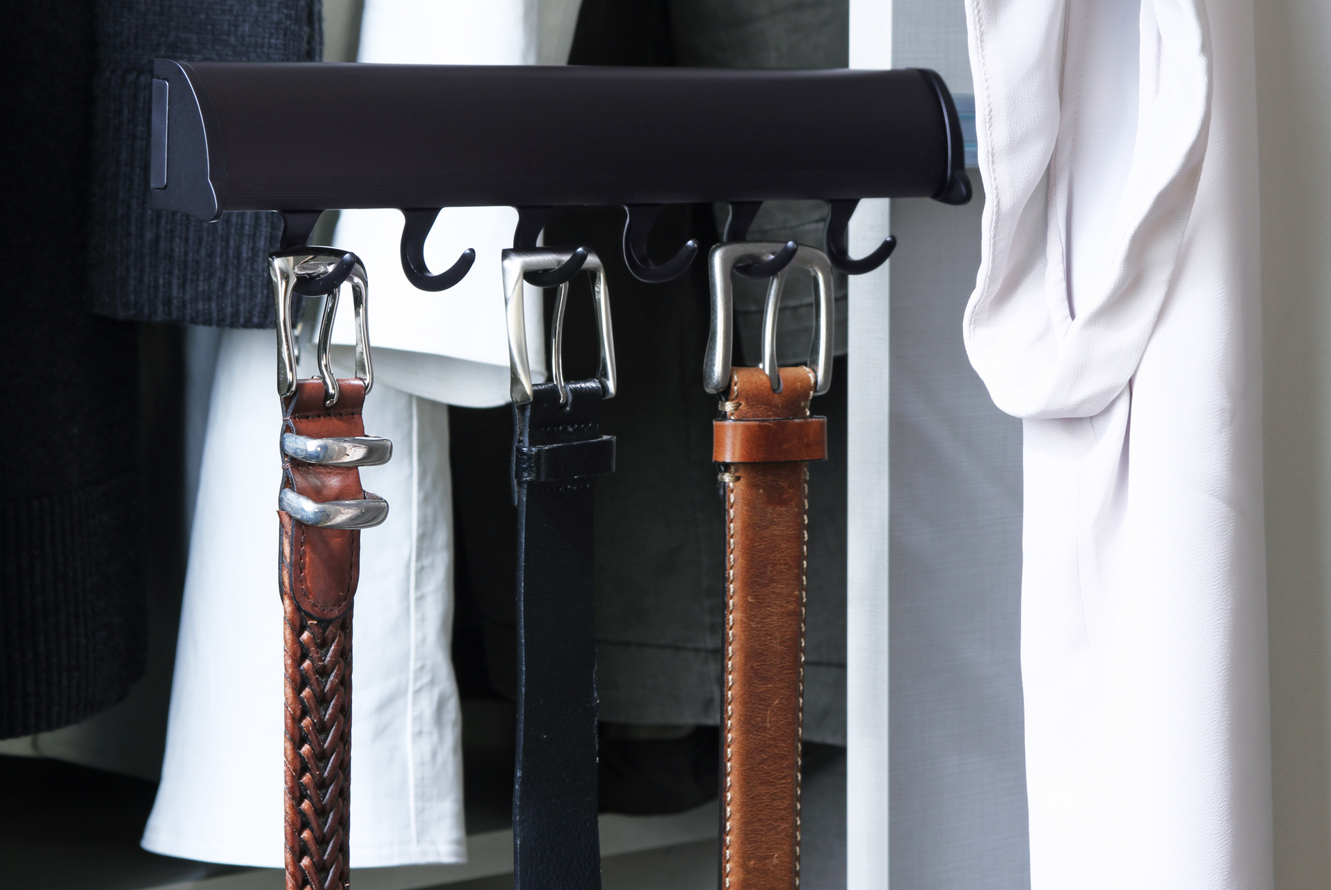 Belts hanging on Oil Rubbed Bronze ELITE Belt Rack - Tag Hardware