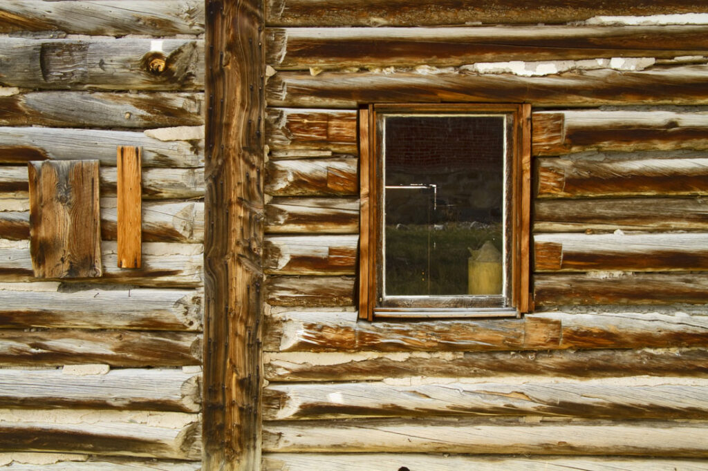 Window on Old Log Cabin