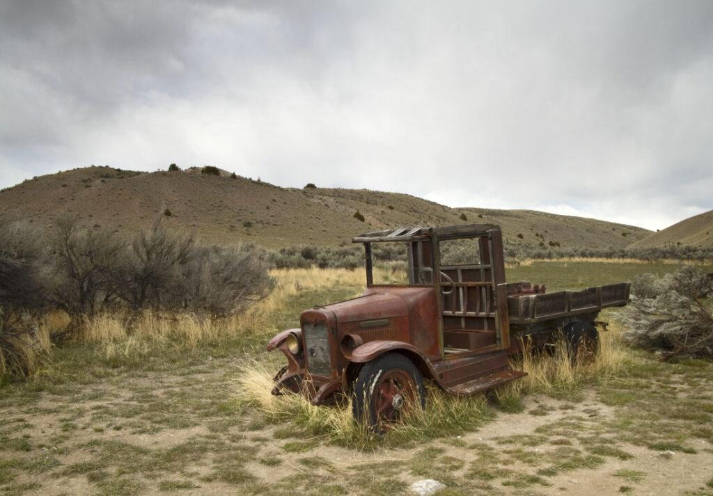 Old Broken Down Red Truck