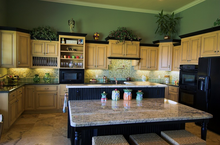 Traditional kitchen with custom island
