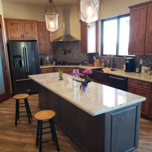 island seating, two toned kitchen