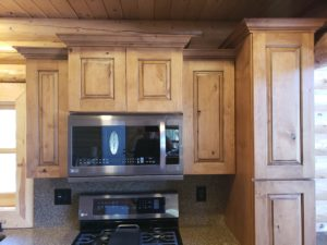 Kitchen, stacked upper cabinets,