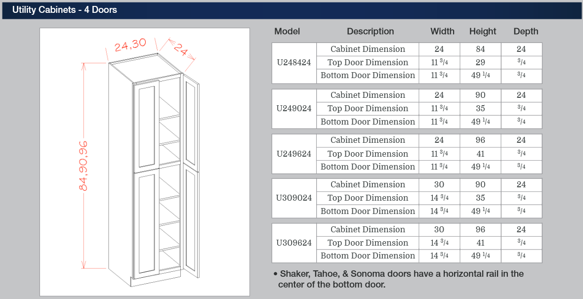 Tall Cabinets - Utility Cabinets - 4 Doors