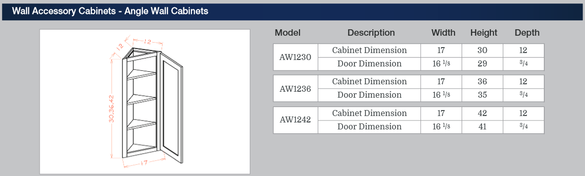 Wall Accessory Cabinets - Angle Wall Cabinets