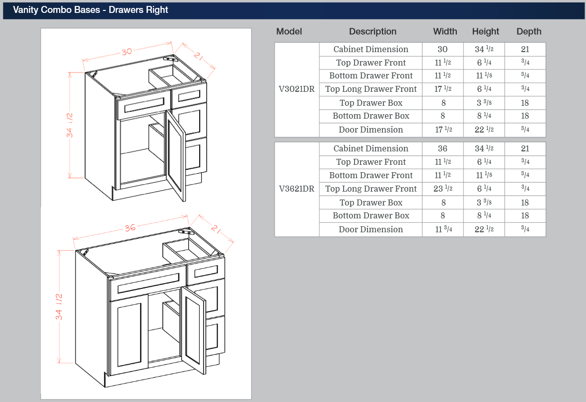 Vanity Combo Bases - Drawers Right