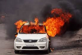 setting car on fire