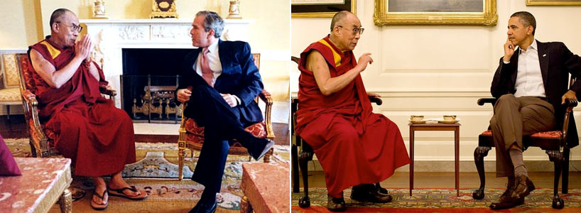 President George W. Bush and President Barack Obama meet with His Holiness the Dalai Lama at the White House during their terms in office. (The White House)