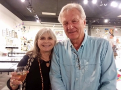 <h5>Joyce Nelson and Michael Frerking catching up on old times</h5>