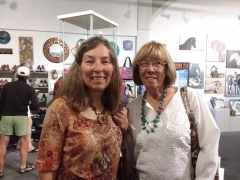 <h5>Judy Kaufman and friend having a great time during ArtWalk</h5>