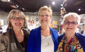 <h5>These lovely ladies are all smiles after purchasing earrings by our jeweler Lesley McKeown</h5>