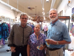 <h5>Chris Marchetti catching up with old friends, Bill (one of our artists) and Pam Odoms</h5>