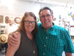 <p>Our ever popular jeweler, Lesley McKeown with our Tony.</p>