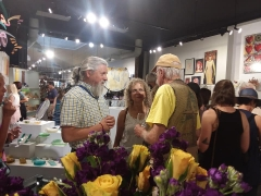 <p>Taking a peek at our artist Carol Russell with husband Daniel (L) and old dear friend Pat.</p>