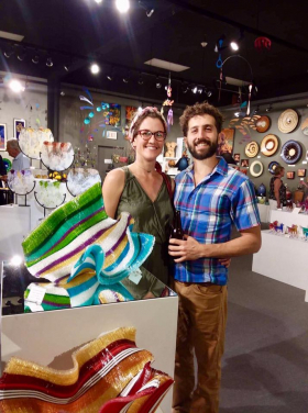 <p>These two loved Carole Perry's amazing glass tapestries!</p>