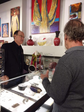 <p>Our jeweler, the famous Kit Carson, showing his work to guests. </p>