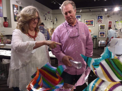 <p>Interested customers of Carole Perry's Glass Tapestry pieces. </p>