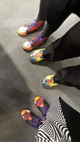 <p>In honor of Van Gogh's Ear and the Shoemaker, Mark Carter, Carole Perry, Judy and Jim Bruce wore their fun Kool Shoos! </p>