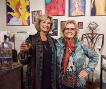 <p>Our sales extraordinaire, Peggy toasting the occasion with good friend (and ours) Kay Landis.</p>
